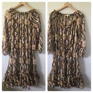 Boston Proper Sheer Snake Print Dress Sz L